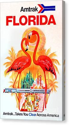 Vintage Florida Amtrak Travel Poster Canvas Print by Jon Neidert