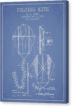 Vintage Folding Kite Patent From 1892 -light Blue Canvas Print by Aged Pixel