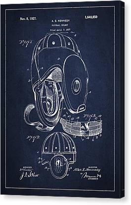 Vintage Football Helment Patent Drawing From 1927 Canvas Print by Aged Pixel