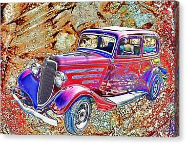 Vintage Ford Art Color Sketch Canvas Print by Lesa Fine