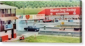 Vintage Ford Drag Racing Canvas Print by Thomas  MacPherson Jr