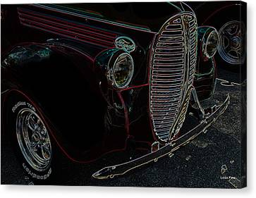 Vintage Ford Neon Art Grill Canvas Print by Lesa Fine