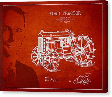 Tractors Canvas Print - Vintage Ford Tractor Patent Drawing From 1919 by Aged Pixel