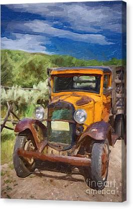 Vintage Ford Truck At Bannack Montana Canvas Print by Priscilla Burgers