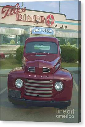 Vintage Ford Truck Outside The Tiltn Diner Canvas Print by Edward Fielding