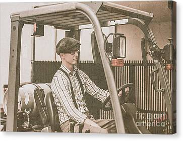 Vintage Forklift Driver Canvas Print by Jorgo Photography - Wall Art Gallery