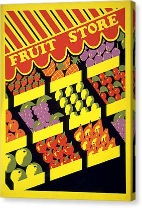 Vintage Fruit Stand Canvas Print by American Classic Art