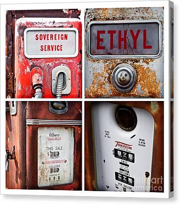 Vintage Fuel Pumps Collage Canvas Print
