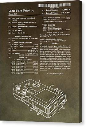 Super Mario Bros Canvas Print - Vintage Gameboy Patent by Dan Sproul