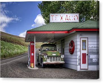 Vintage Gas Station - Chevy Pick-up Canvas Print by Nikolyn McDonald
