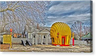 Days Of Yesterday Gas Station Canvas Print