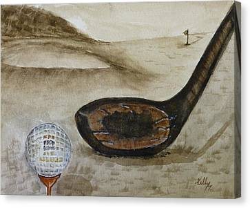 Vintage Golfing In The Early 1900s Canvas Print by Kelly Mills