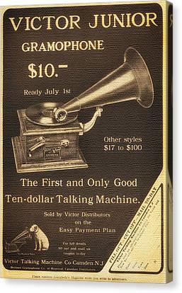 Vintage Gramophone Advertisement 1909 Canvas Print by Mountain Dreams