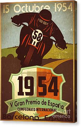 Vintage Grand Prix Spain Canvas Print by Cinema Photography