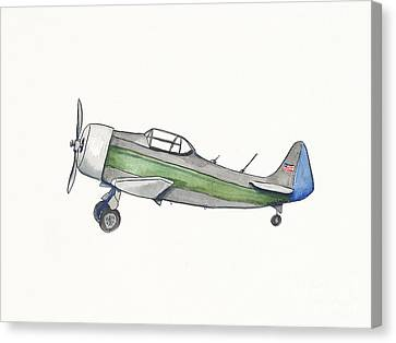 Vintage Green And Gray Airplane Canvas Print by Annie Laurie