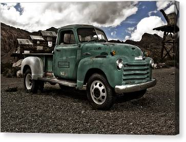 Old American Truck Canvas Print - Vintage Green Chevrolet Truck by Gianfranco Weiss
