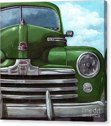 Vintage Green Ford Canvas Print by Linda Apple