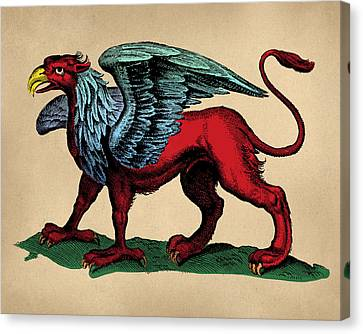 Fantasy Creatures Canvas Print - Vintage Griffin Tinted Woodcut by Flo Karp