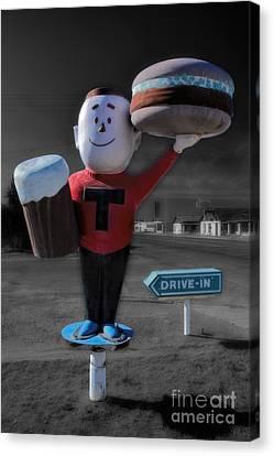 Frosty Mug Canvas Print - Vintage Hamburger Drive In by Henry Kowalski