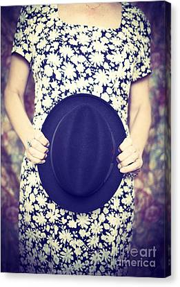 Vintage Hat Flower Dress Woman Canvas Print