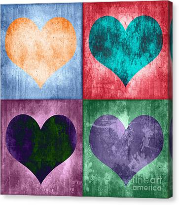 Vintage Hearts Canvas Print by Delphimages Photo Creations