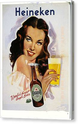 Vintage Heineken Beer Ad Canvas Print by Allen Beilschmidt