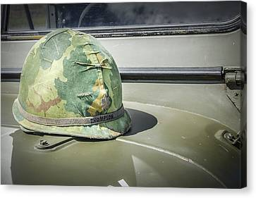 Vintage Helmet On Jeep Hood Canvas Print