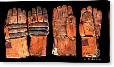 Vintage Hockey Gloves #1 Canvas Print
