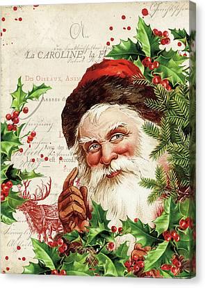 Saint Nick Canvas Print - Vintage Holiday Iv by Katie Pertiet