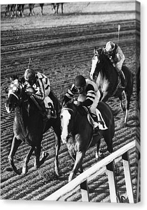 Vintage Horse Racing First Family Canvas Print