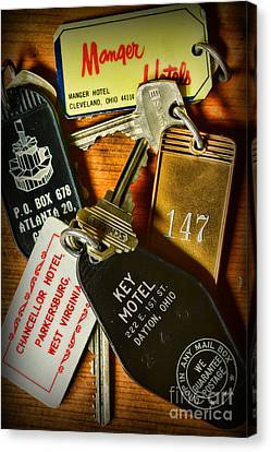 Vintage Hotel Keys Canvas Print by Paul Ward