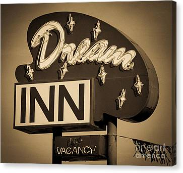 Vintage Hotel - Motel Sign Canvas Print by Gary Whitton