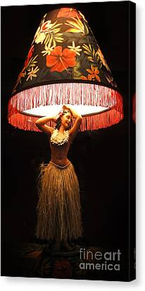 Vintage Hula Girl Lamp Canvas Print