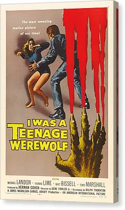Vintage I Was A Teenage Werewolf Movie Poster Canvas Print by Mountain Dreams