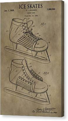 Vintage Ice Skates Patent Canvas Print by Dan Sproul