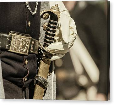 Vintage Image Of Soldier With Civil War Canvas Print by Sheila Haddad