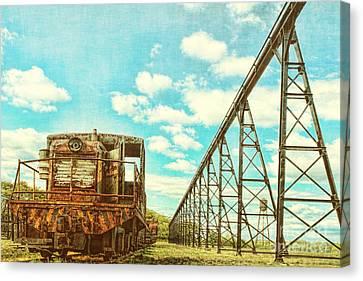 Vintage Industrial Postcard Canvas Print by Olivier Le Queinec