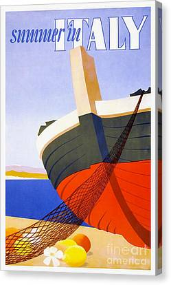 Vintage Italy Travel Poster Canvas Print by Jon Neidert
