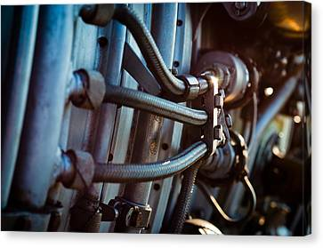 Vintage Jet Engine Part With Hoses Canvas Print by Oliver Sved