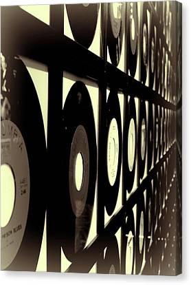 Vintage Johnny Cash Records In Nashville Canvas Print by Dan Sproul