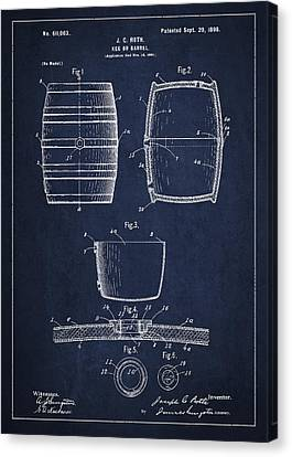 Vintage Keg Or Barrel Patent Drawing From 1898 - Navy Blue Canvas Print
