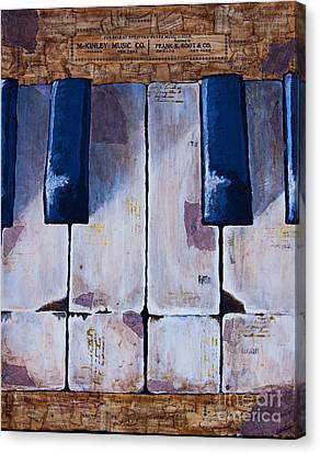 Canvas Print featuring the mixed media Vintage Keys by Melissa Sherbon