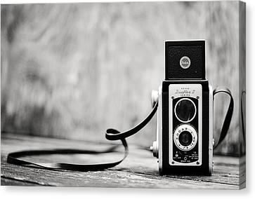 Vintage Kodak Duaflex II Camera Black And White Canvas Print by Terry DeLuco