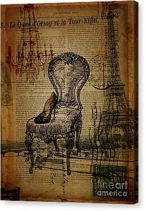 Vintage Lace Stiletto Rococo Chair Chandelier Paris Eiffel Tower Canvas Print by Cranberry Sky