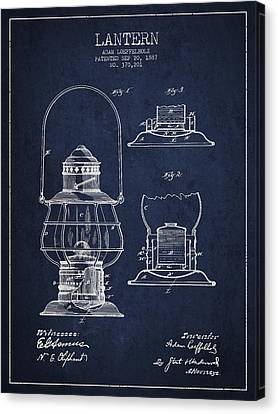 Oil Lamp Canvas Print - Vintage Lantern Patent Drawing From 1887 by Aged Pixel