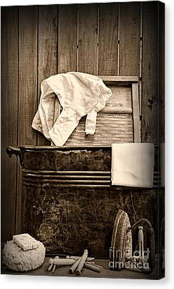 Wash Tubs Canvas Print - Vintage Laundry Room In Sepia	 by Paul Ward