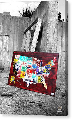 Vintage License Plates Reborn Canvas Print
