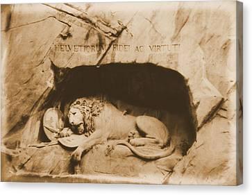 Bravery Canvas Print - Vintage Lion Of Lucerne by Dan Sproul