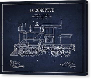 Vintage Trains Canvas Print - Vintage Locomotive Patent From 1892 by Aged Pixel