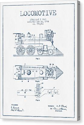 Vintage Locomotive Patent From 1904  -  Blue Ink Canvas Print